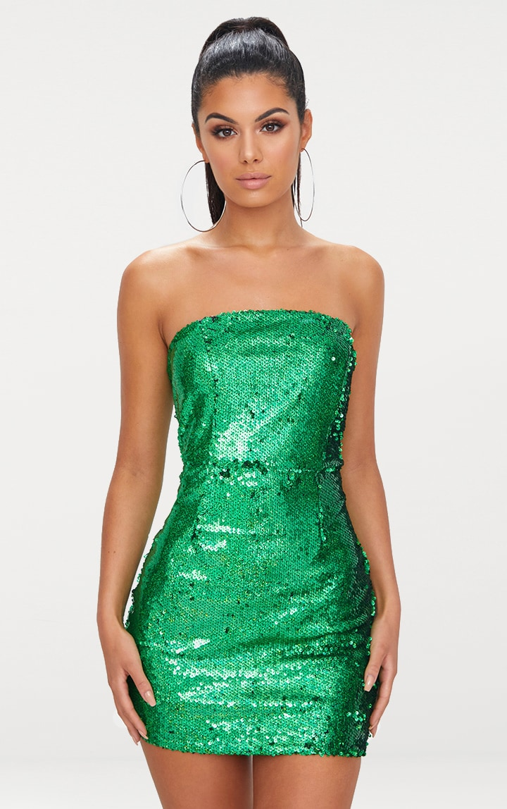 Bright Green Bandeau Sequin Bodycon Dress 1