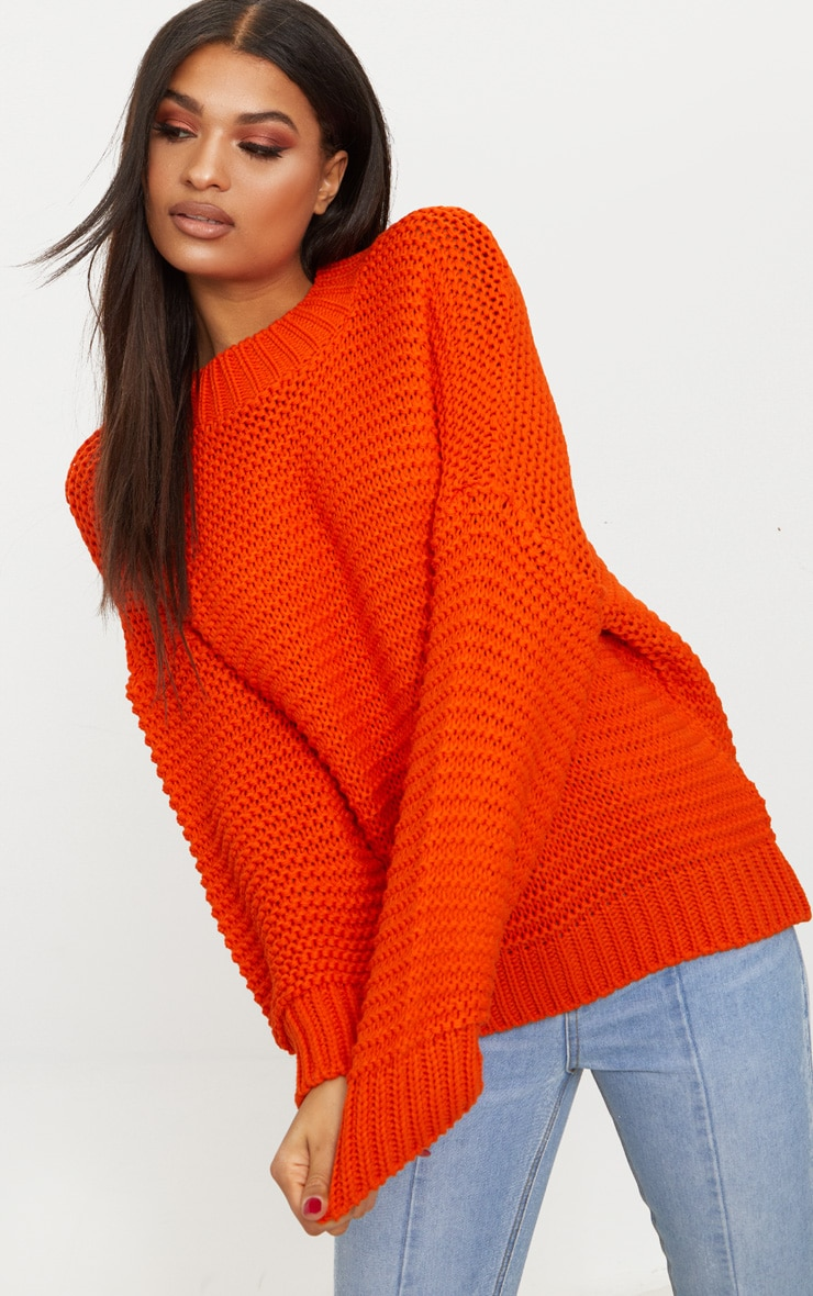 Orange Oversized Chunky Sweater 1