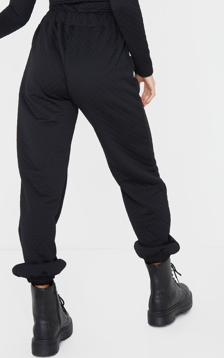 Petite Black Oversized Quilted Track Pants 3