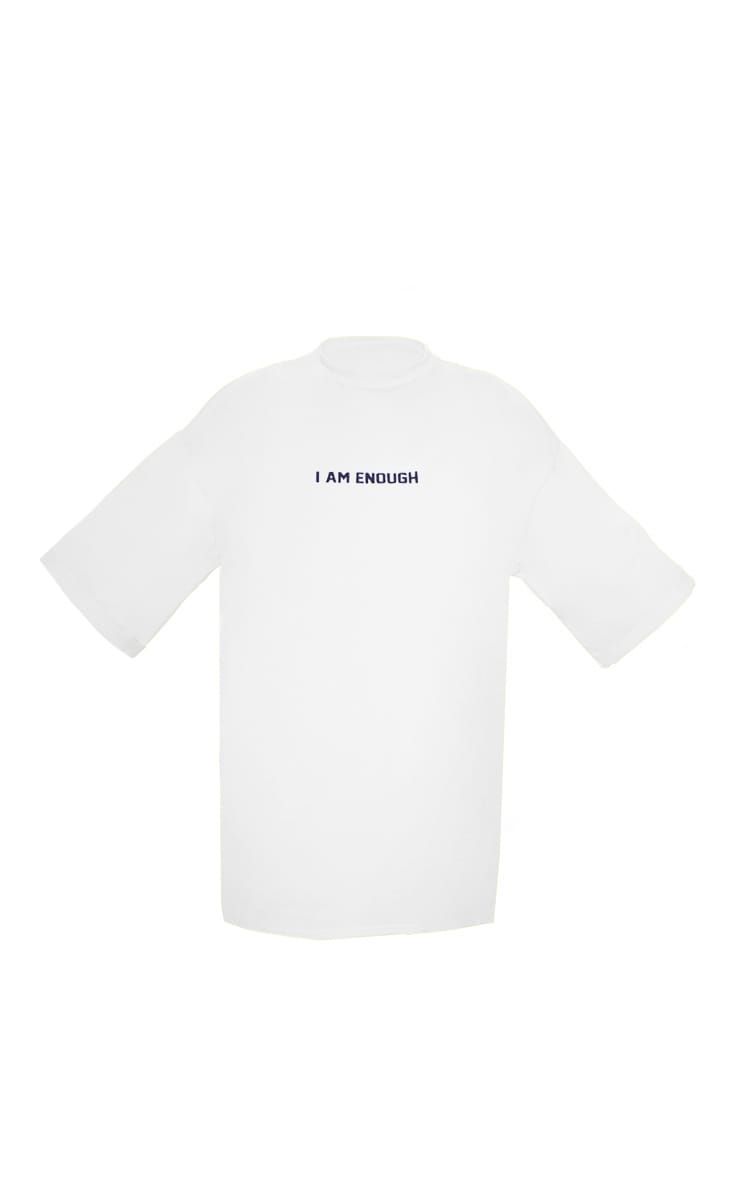 White I Am Enough Oversized Slogan T Shirt Dress 3