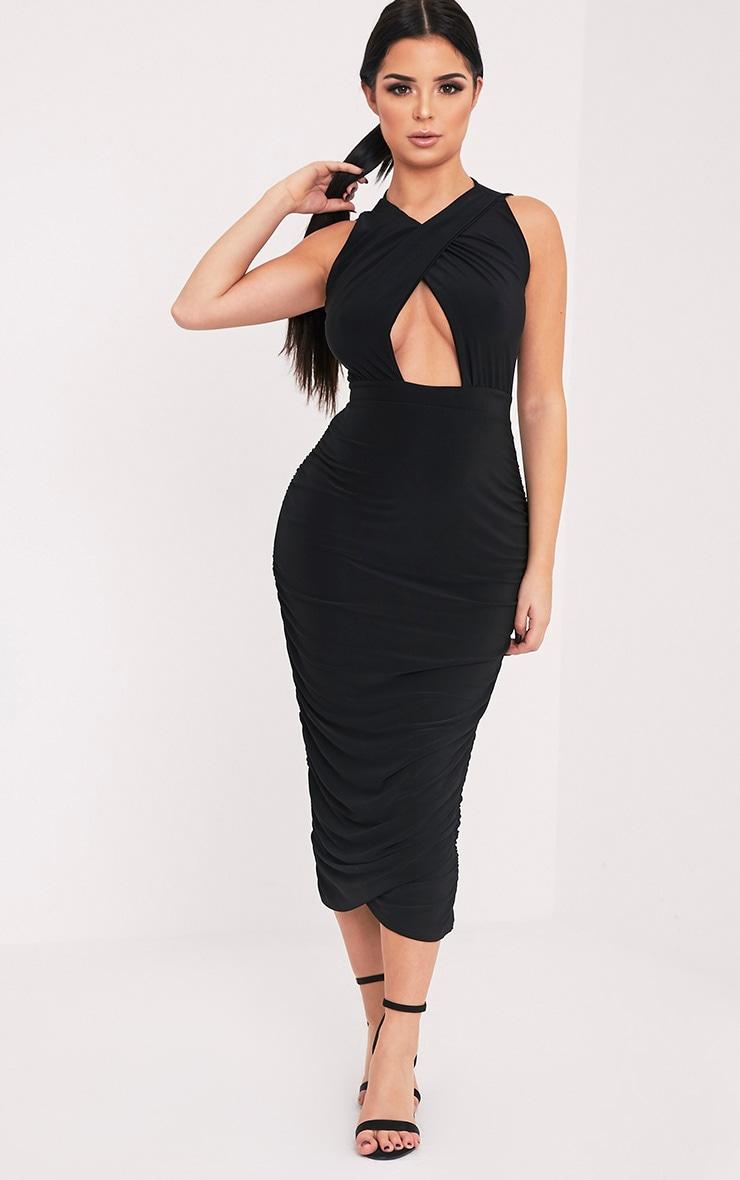 Shape Careen Black Ruched Cross Front Midi Dress  1