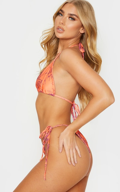 Orange Floral Tie Side Bikini Bottom