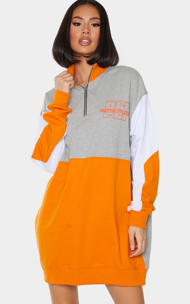 PRETTYLITTLETHING Grey Contrast Colour Detail Zip Neck Jumper Dress 1