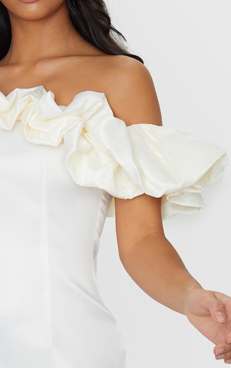 Petite Cream Ruched Bardot Dress 4