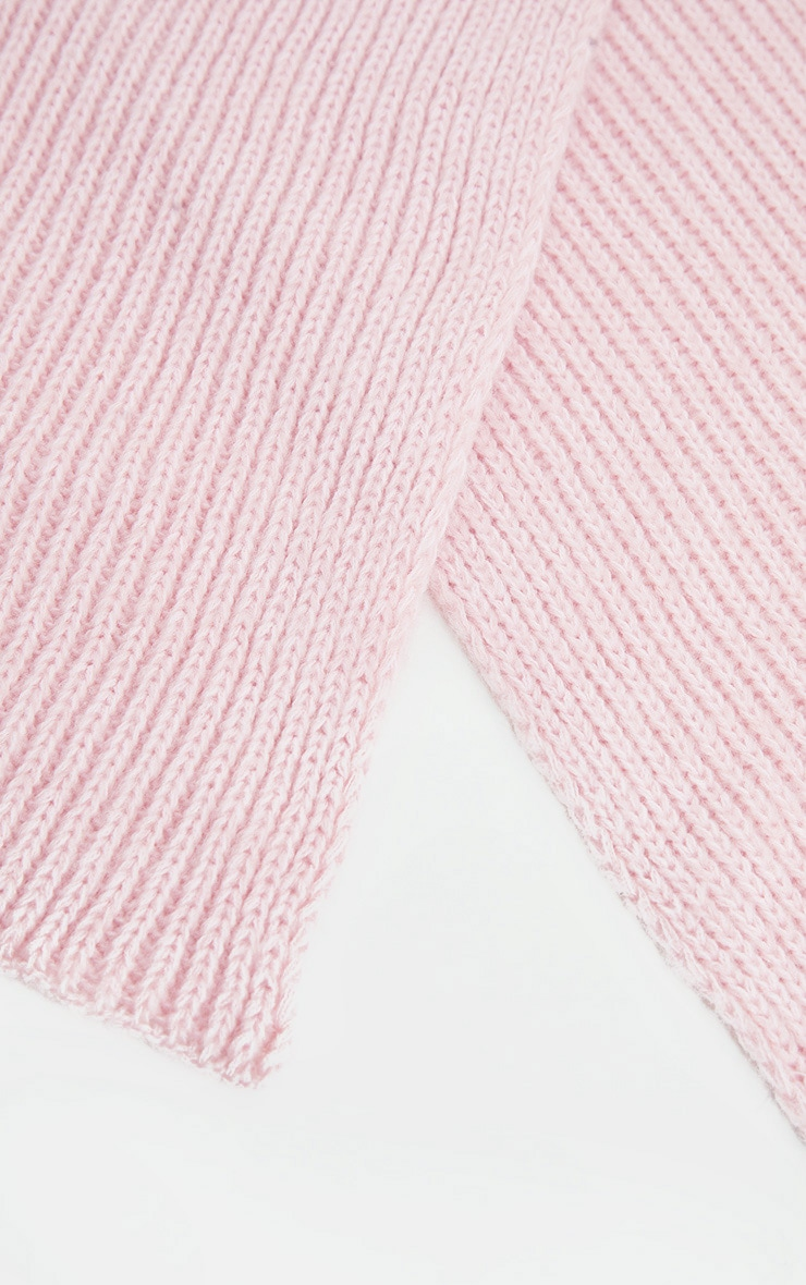 Pink Ribbed Knit Scarf 2