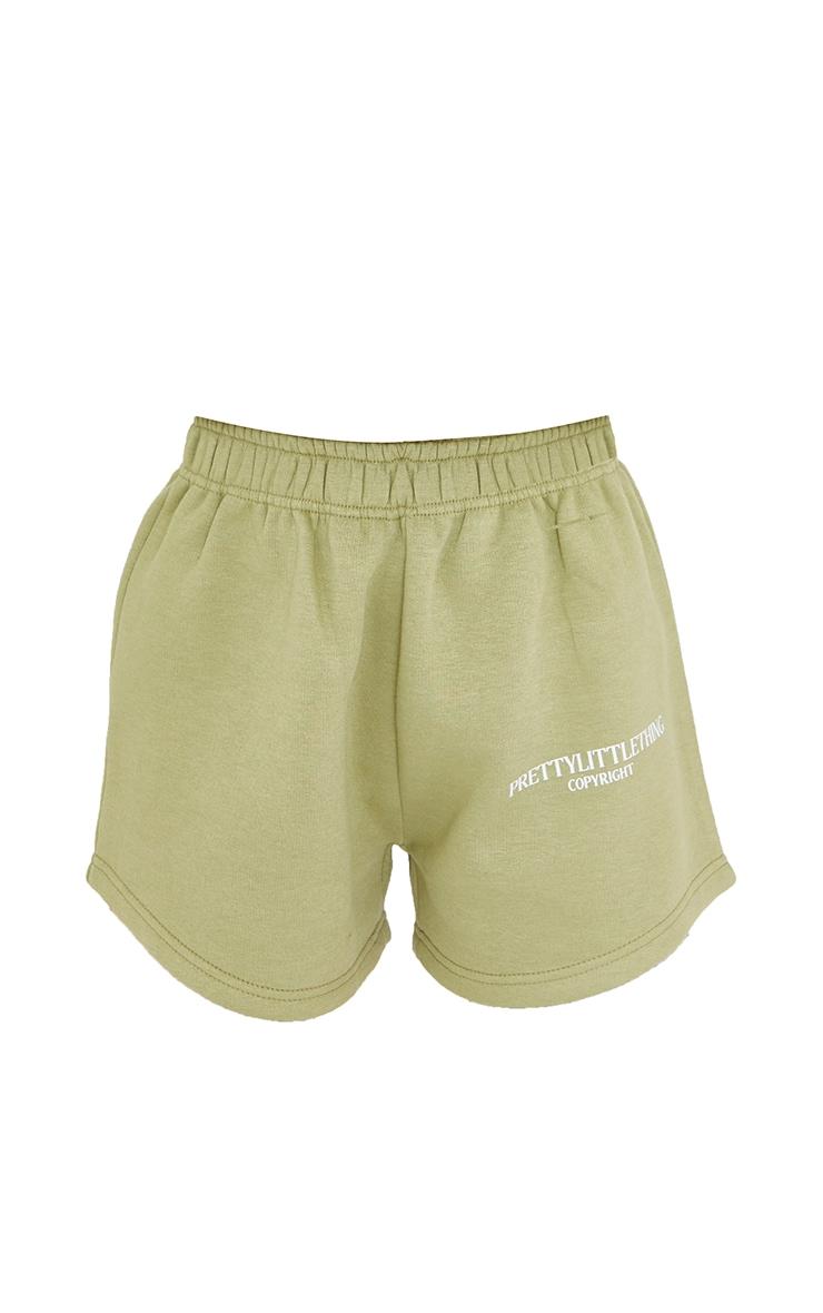 PRETTYLITTLETHING Petite Sage Green Logo Sweat Shorts 6