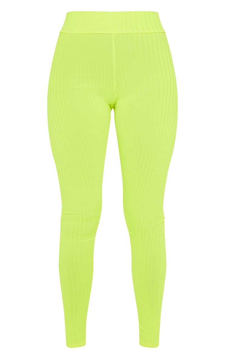 Neon Yellow Ribbed High Waisted Legging 3