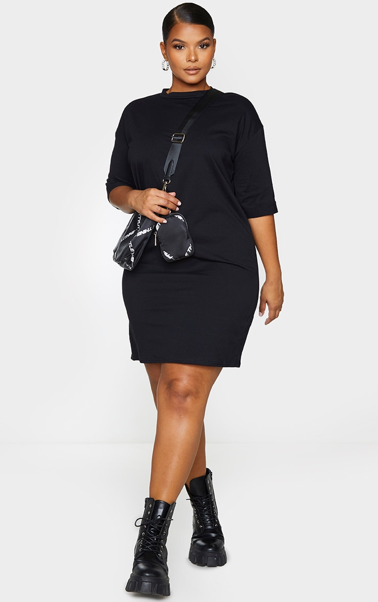 Plus Black Oversized Boyfriend Short Sleeve T Shirt Dress 3