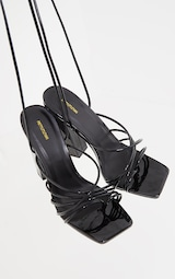 Black Wide Fit Patent Lace Up Block High Heels 3