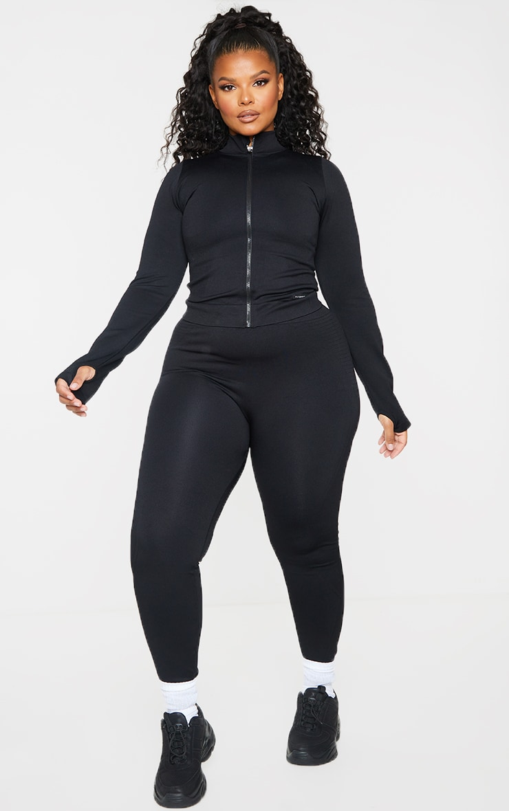 Plus Black Seamless Rib Detail Jacket 3