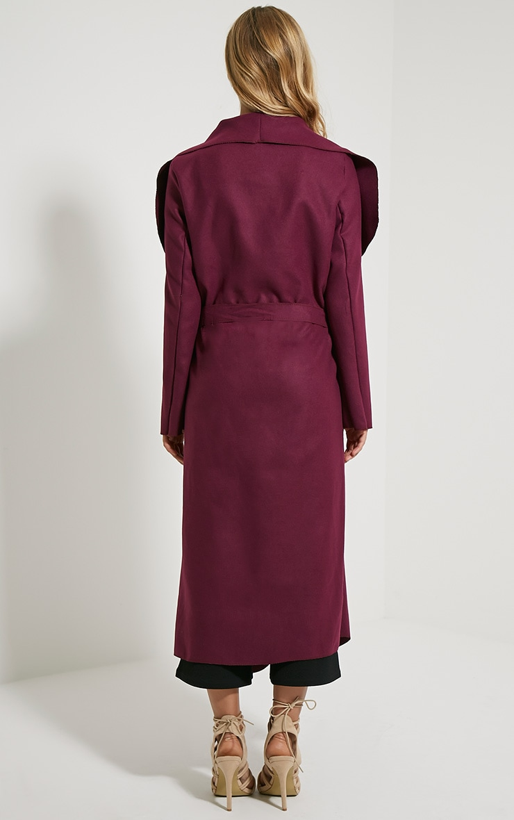 Veronica Purple Oversized Waterfall Belt Coat 2
