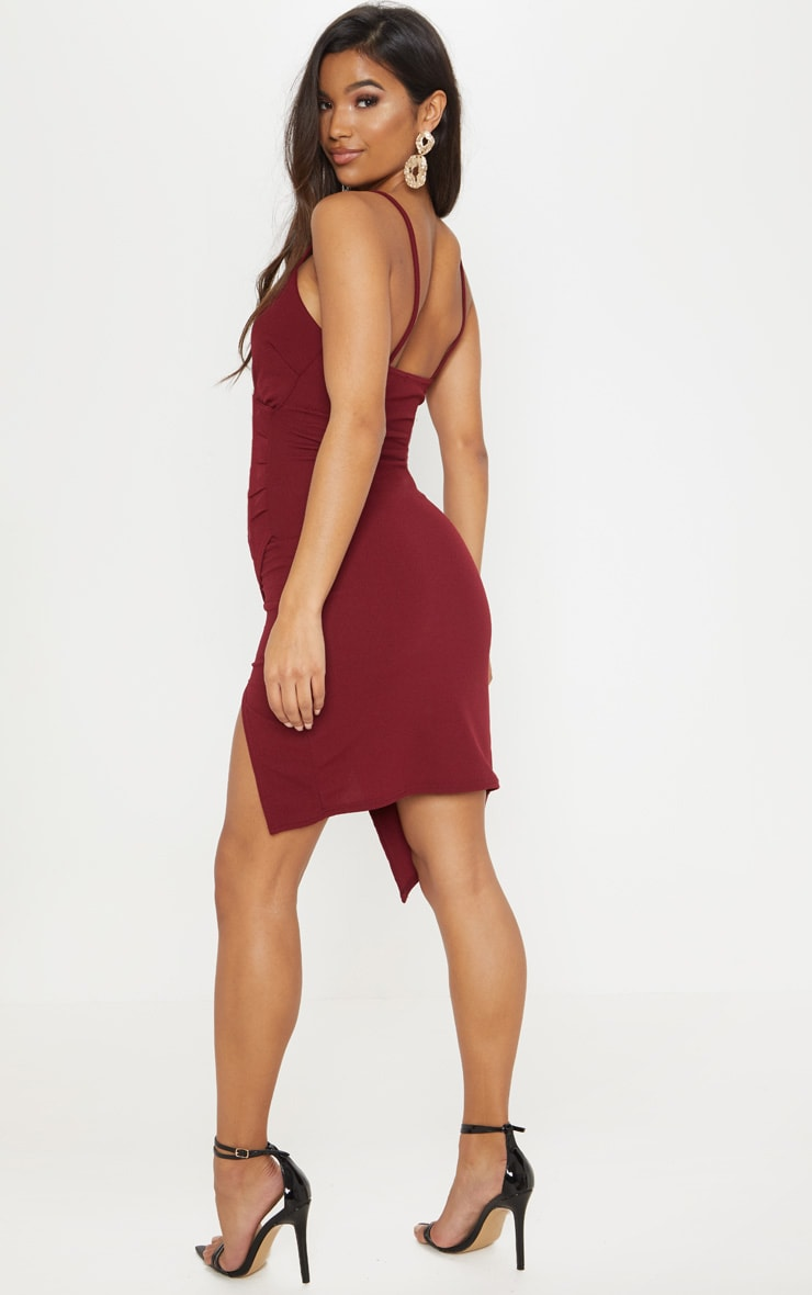 Lauriell Burgundy Wrap Front Crepe Midi Dress 2