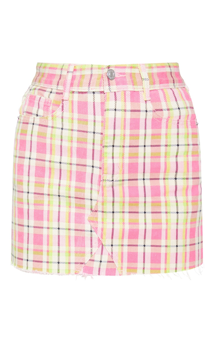 Pink Neon Check Denim Mini Skirt 3