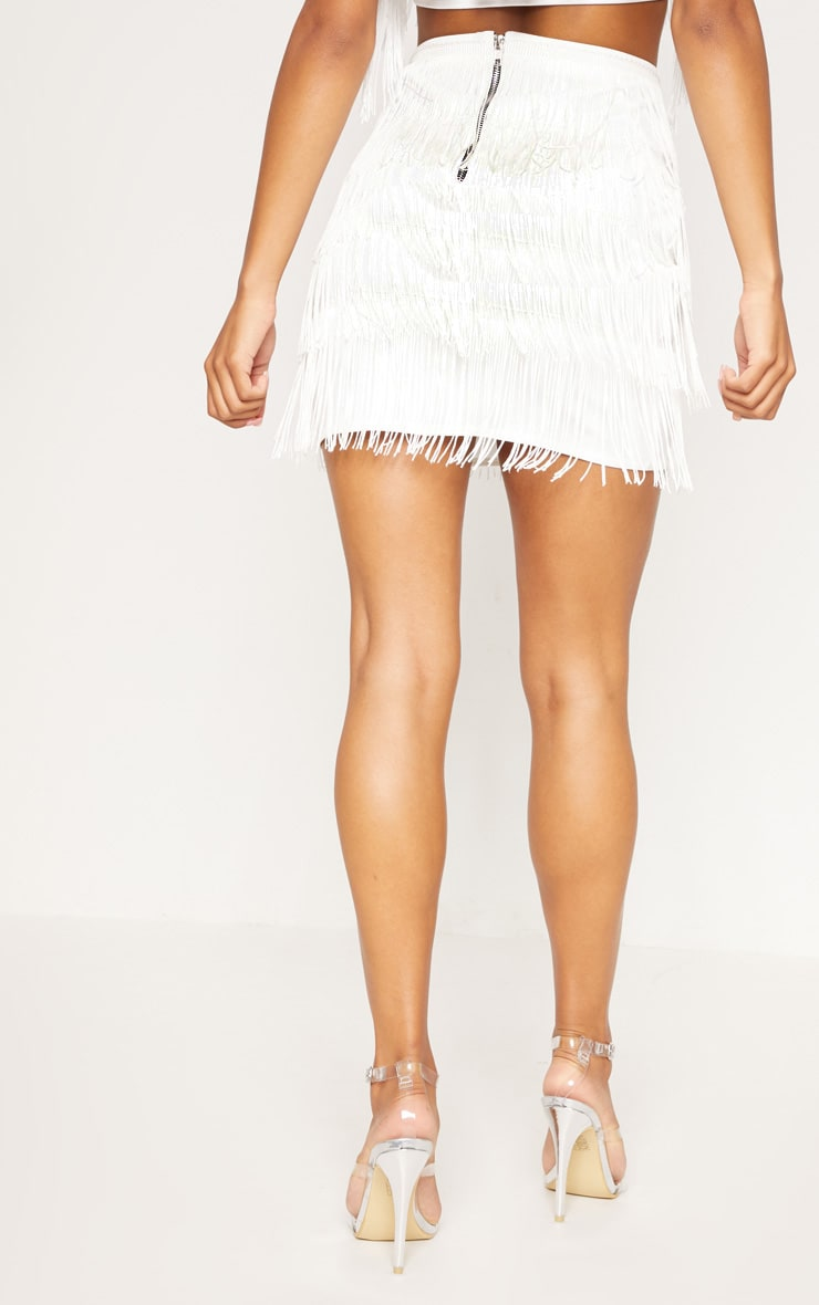 White Tiered Fringe Mini Skirt 2