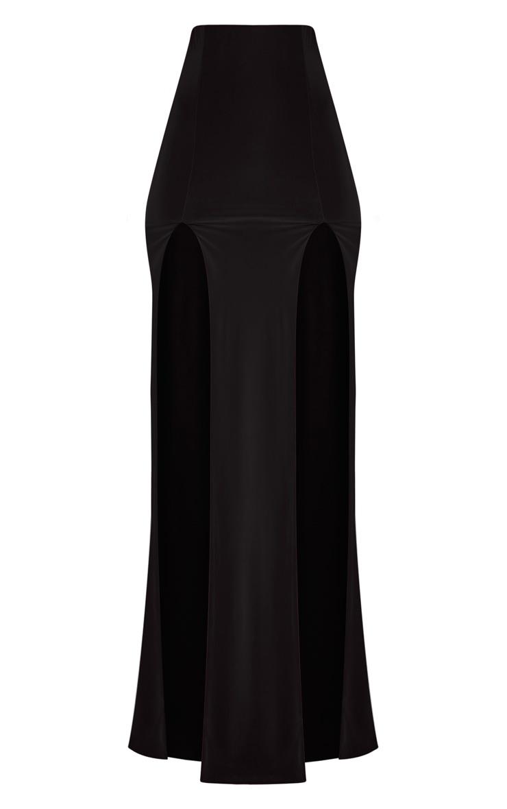 Elaine jupe maxi noire avec double fente 3