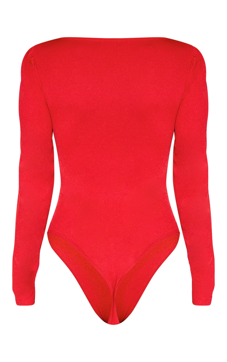 Red Long Sleeve Plunge Bodysuit 4