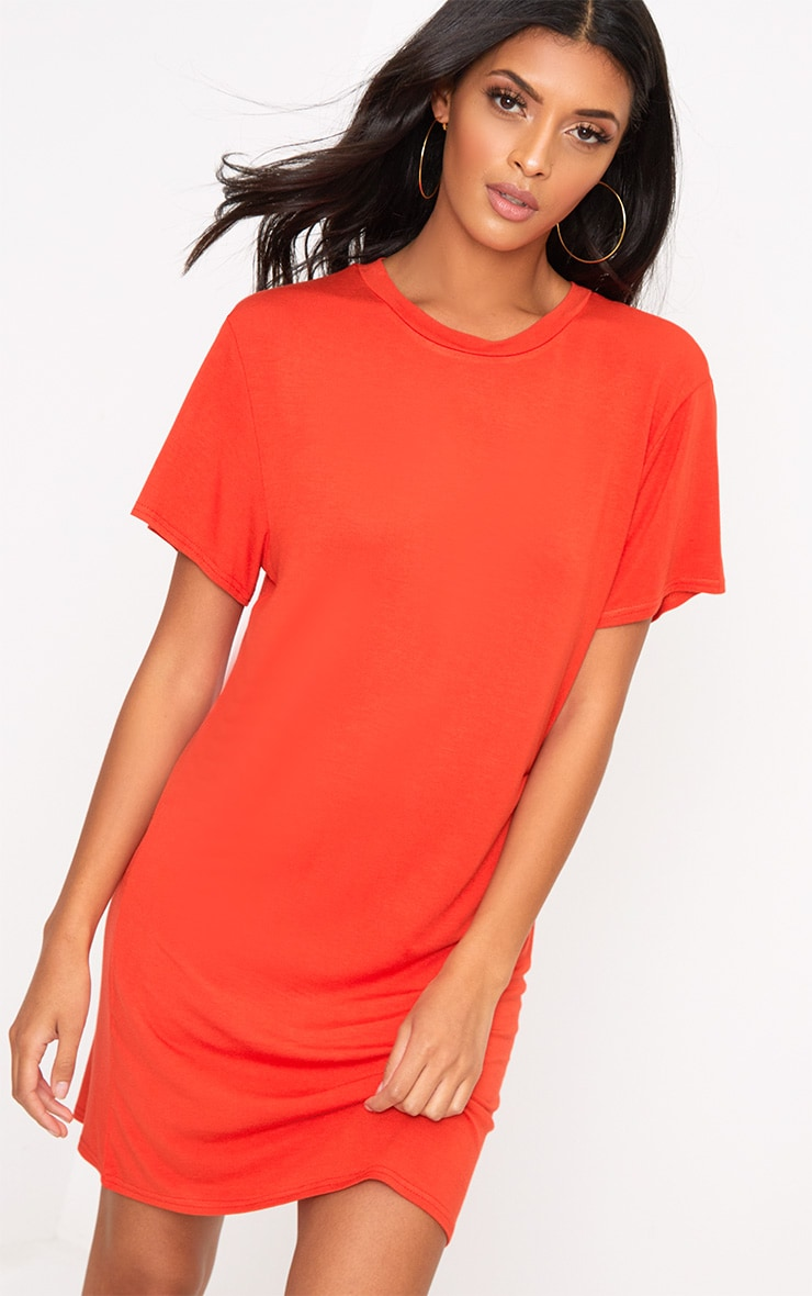 Basic Orange Short Sleeve T Shirt Dress