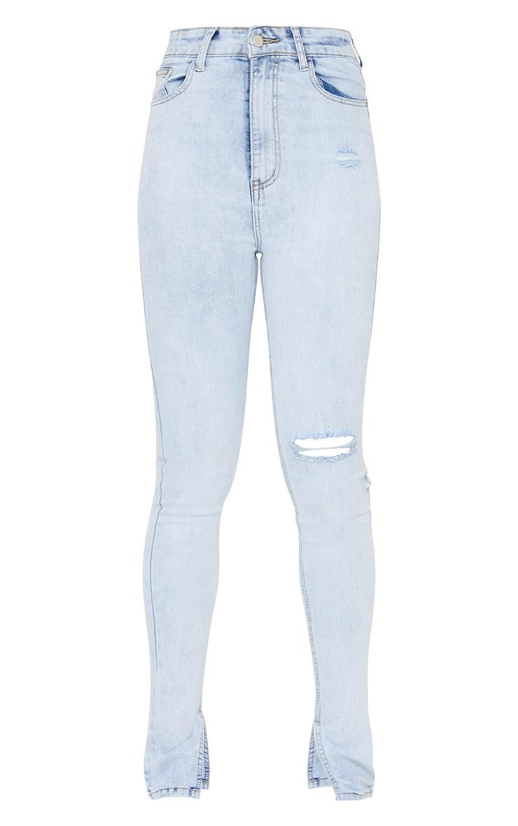 Tall Bleach Wash Long Leg Split Hem Slim Fit Jeans 5