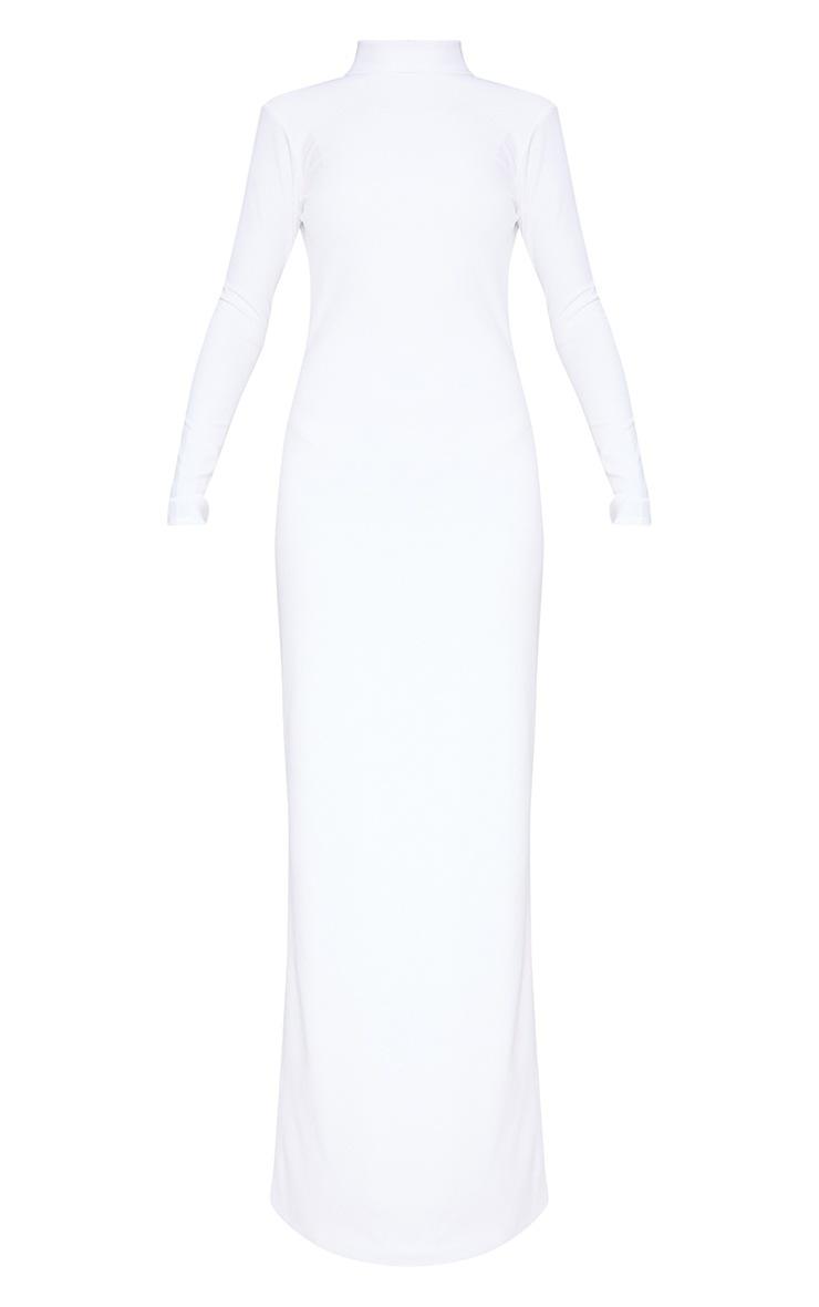 White Mesh Cut Out Back Detail Maxi Dress 3