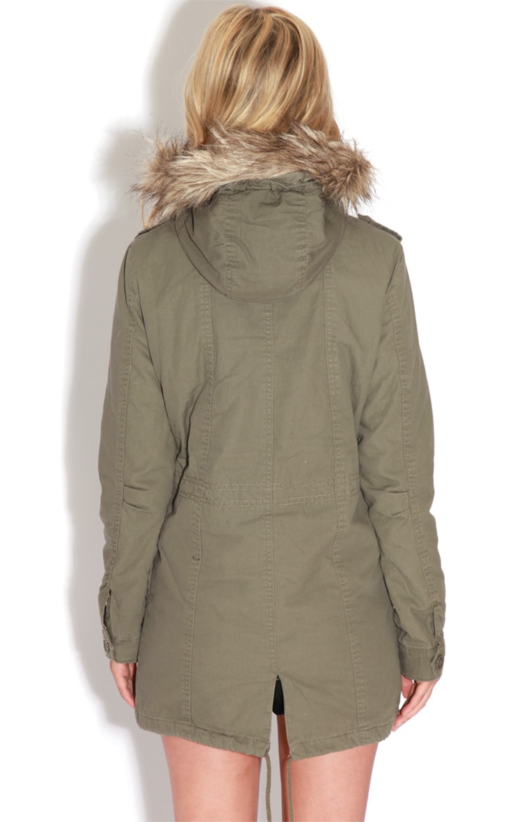 Jameel Khaki Coat With Grey Fur Lined Hood 2