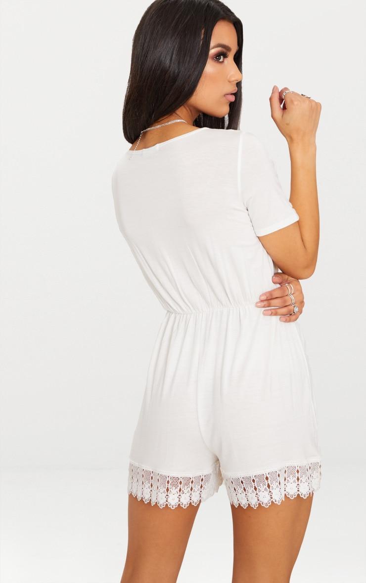 White Crochet Trim Short Sleeve Playsuit 2