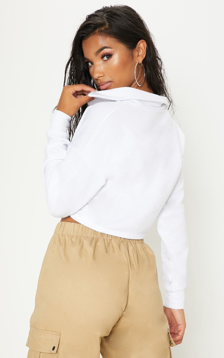 White Collar Polo Long Sleeve Crop Top 2
