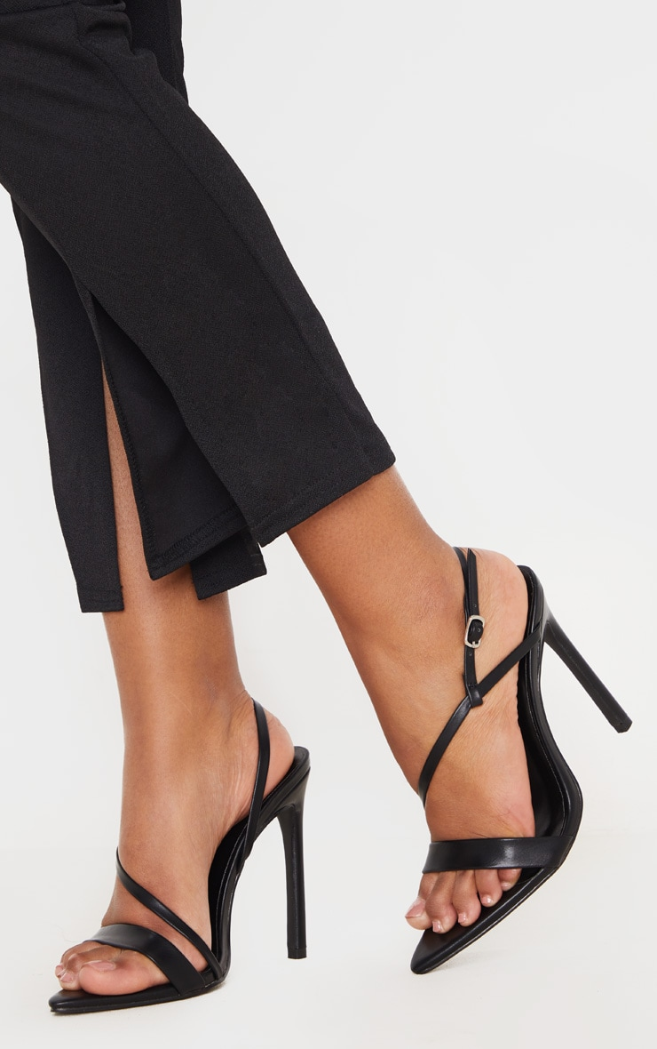 Black Asymmetric Strap Point Toe Heeled Sandal 2