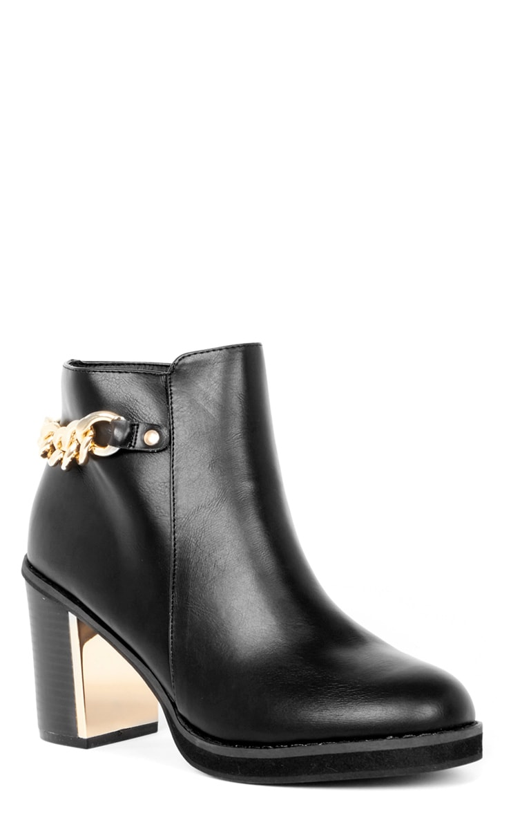 Gina Black Gold Chain Detail Heeled Boot  3