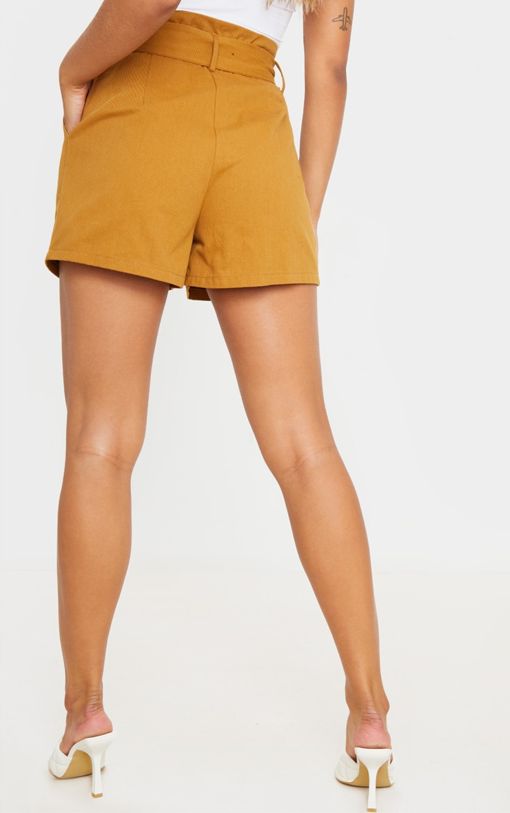 Camel Paperbag Tie Waist Tailored Shorts 3