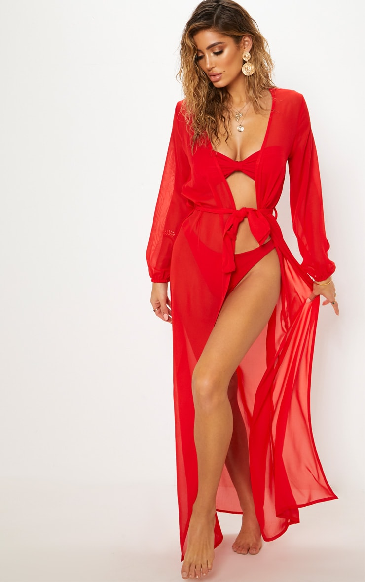 Red Maxi Belted Beach Kimono 1