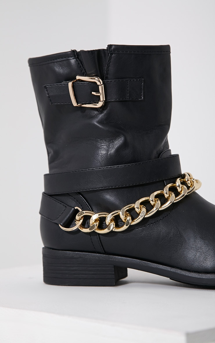 Janet Black Chain Ankle Boots 6
