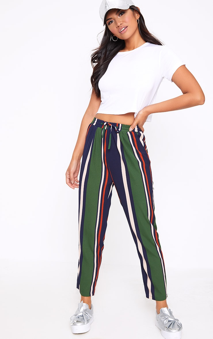 Navy Stripe Casual Trousers 1