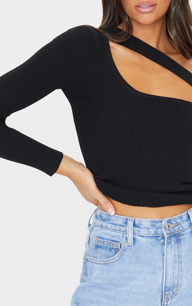 Black Cut Out One Sleeve Knitted Long Sleeve Top 4