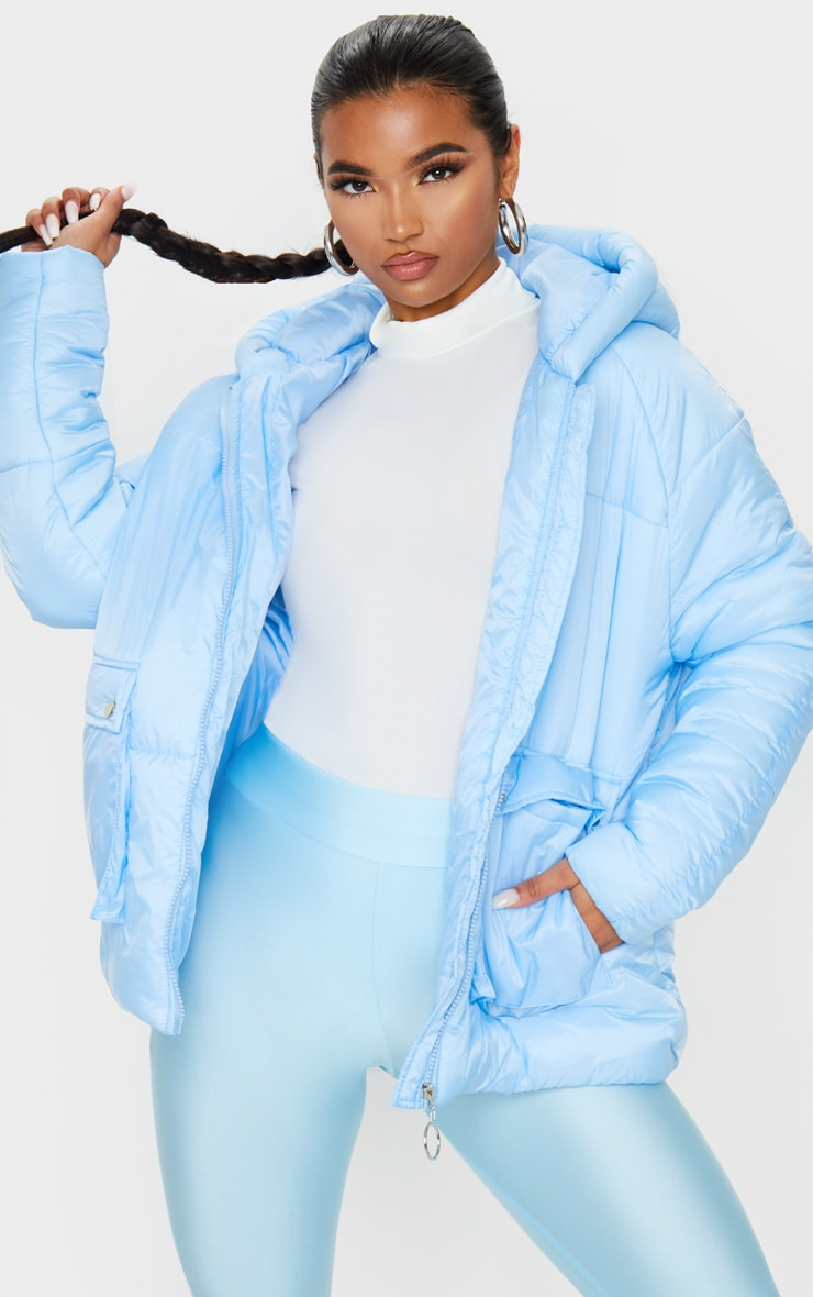 Light Blue Pocket Front Hooded Puffer 1