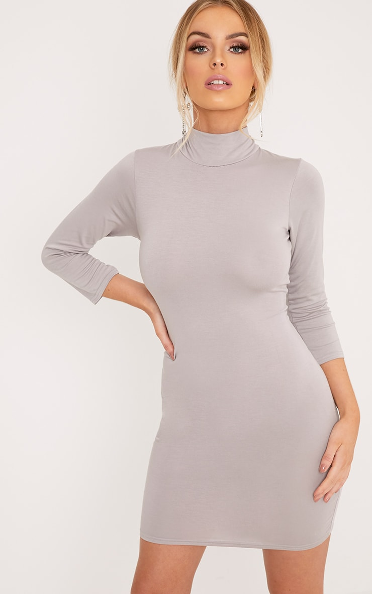 Basic Dove Grey High Neck Jersey Mini Dress 4