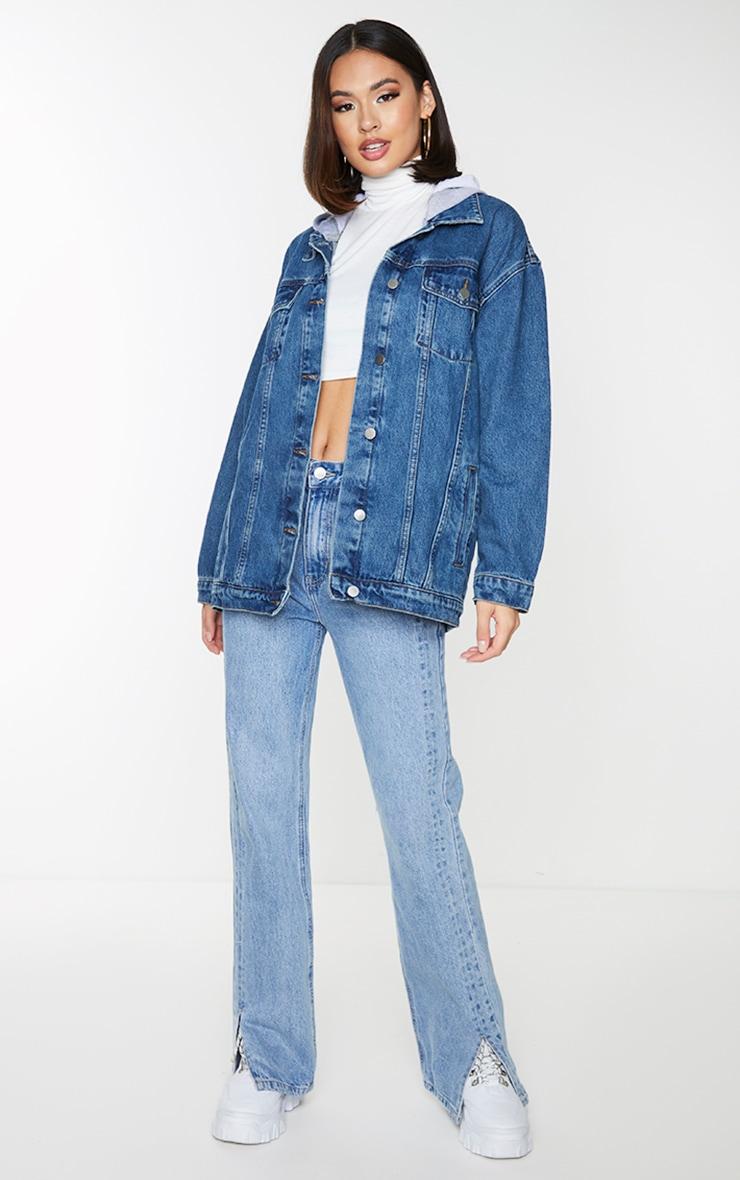 Dark Blue Wash Hooded Denim Jacket 1