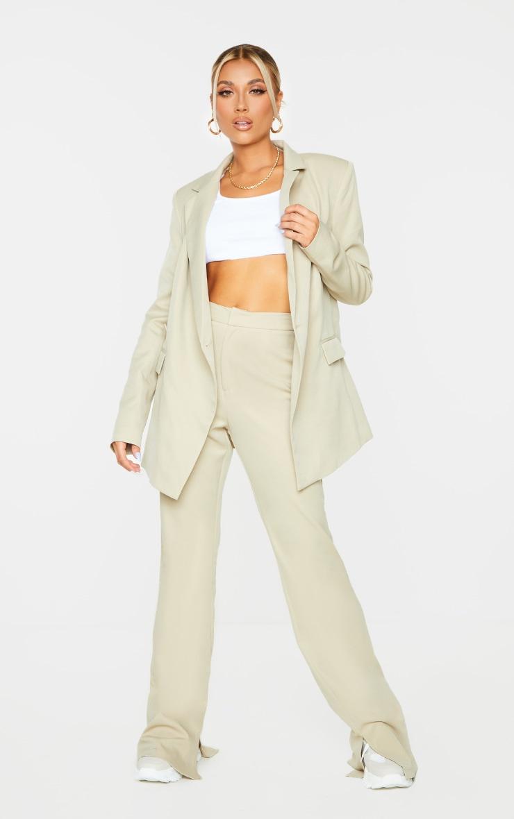 Sage Green Oversized Asymmetric Button Detail Suit Blazer 1