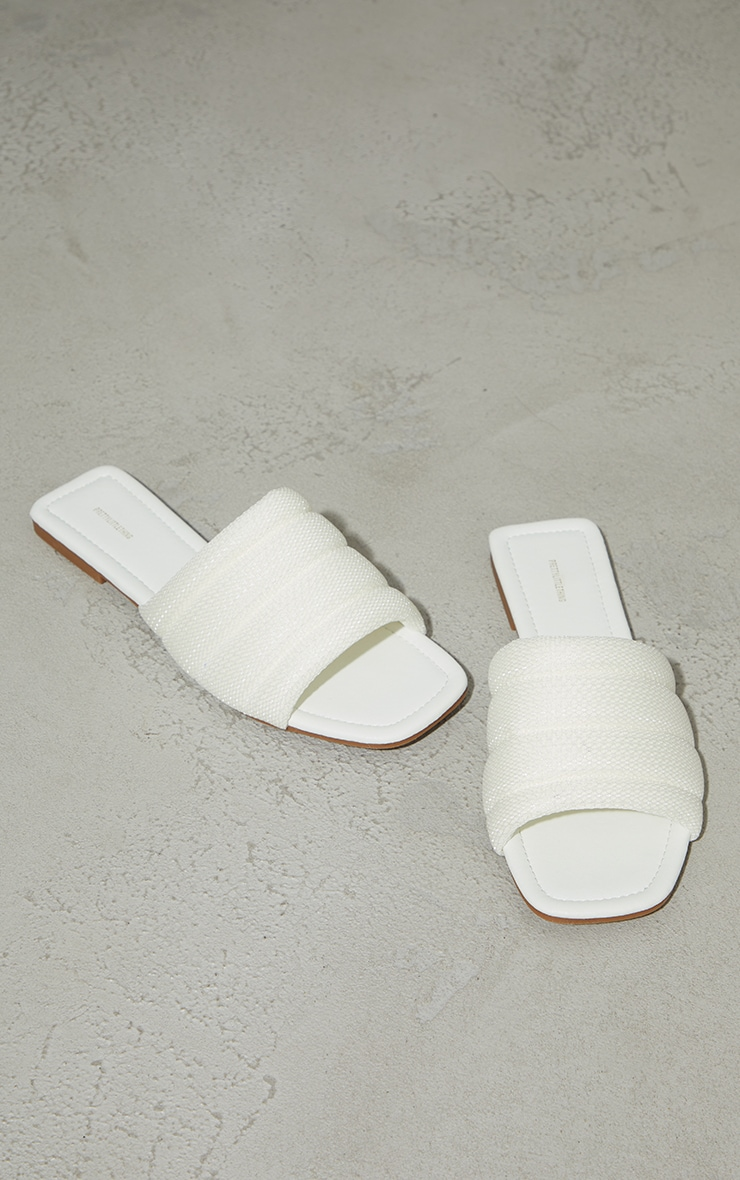 White Netted Quilted Square Toe Sandals 3