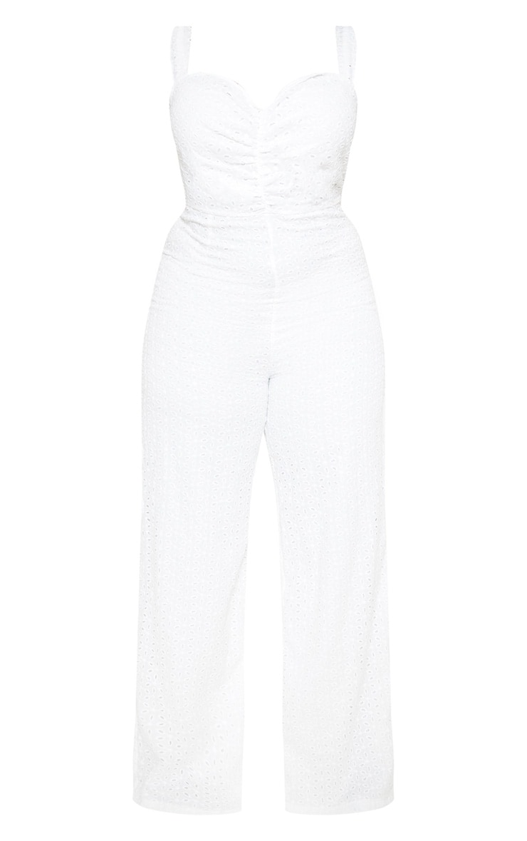 Plus White Broderie Anglaise Wide Leg Jumpsuit 3
