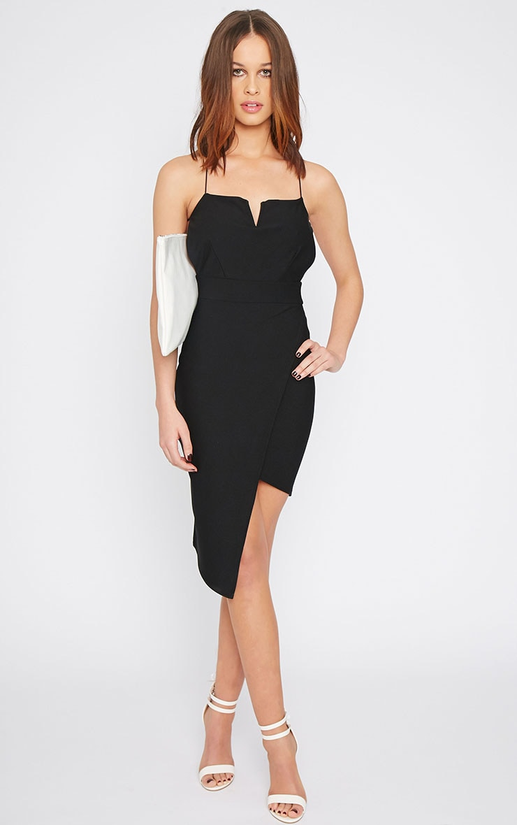 Raye Black Cross Back Asymmetric Dress  4