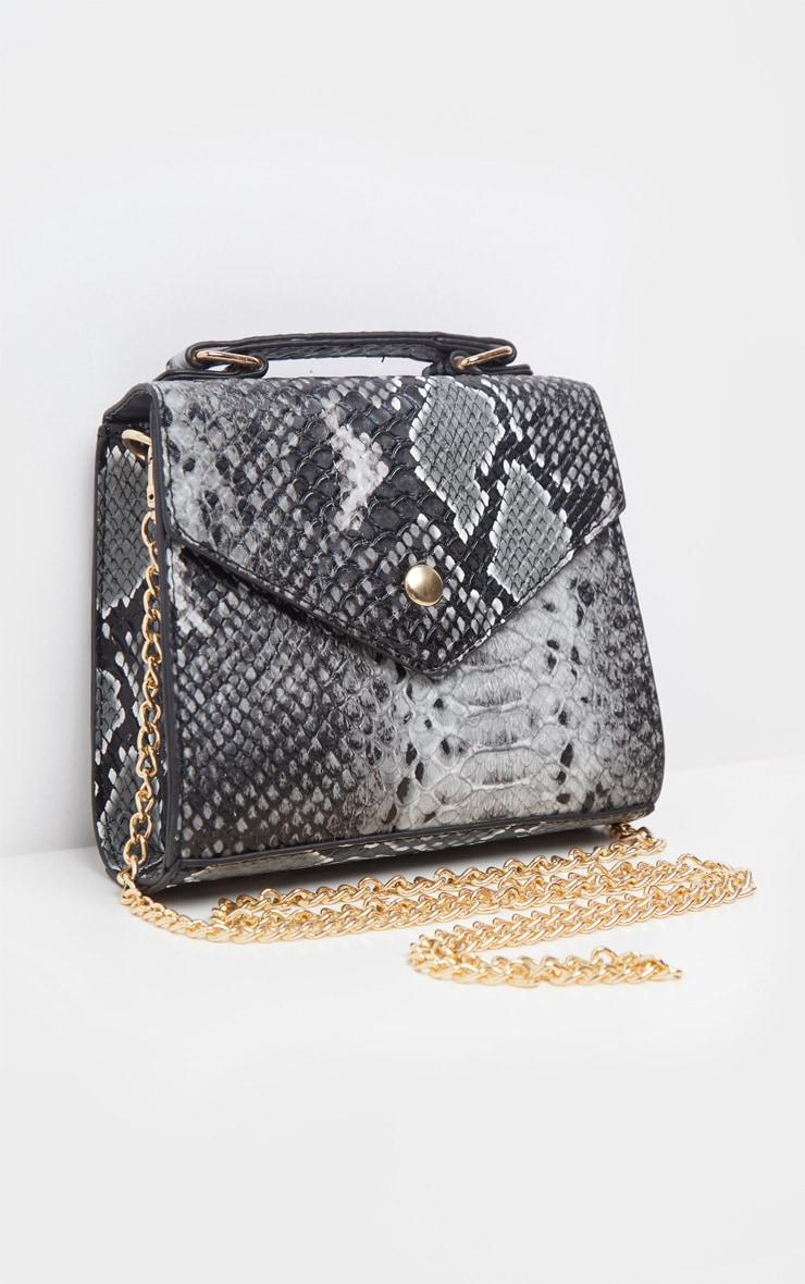 Grey Snake PU Envelope Mini Cross Body Bag 3
