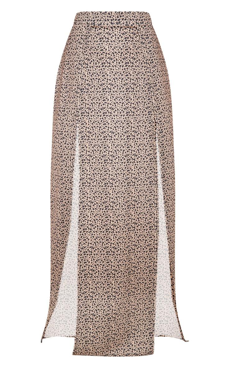 Leopard Print Double Split Maxi Skirt 3
