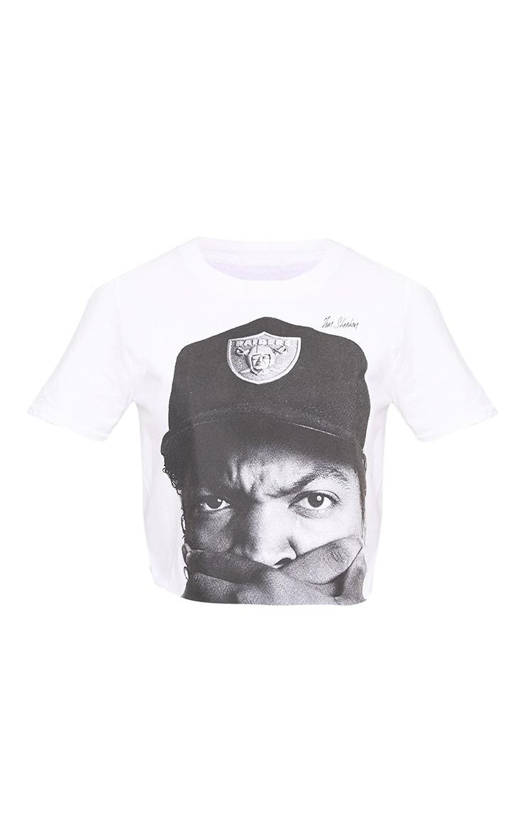 Iconic License Print White Crop T Shirt 3