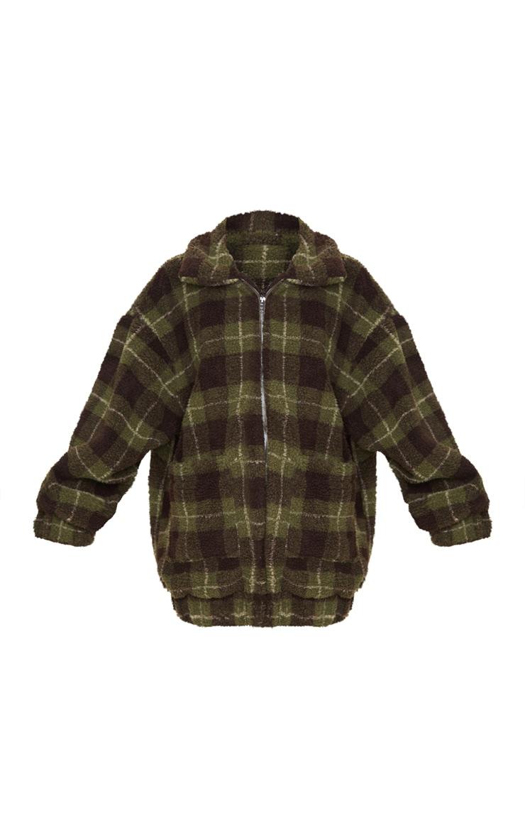 Khaki Checked Borg Jacket 3