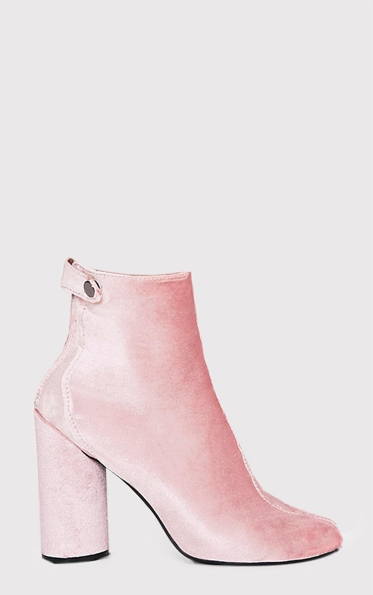 Amie Blush Velvet Heeled Ankle Boots 1