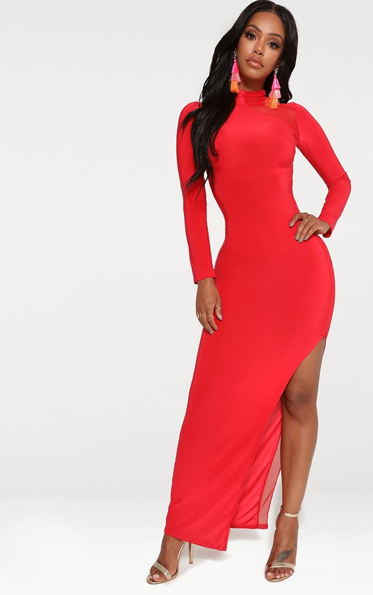 Shape Red Slinky Mesh Insert Maxi Dress 4