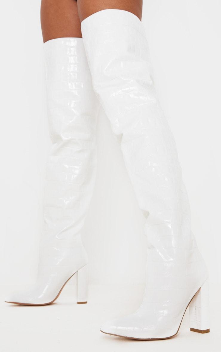 Cuissardes blanches pointues à gros talon bloc 1