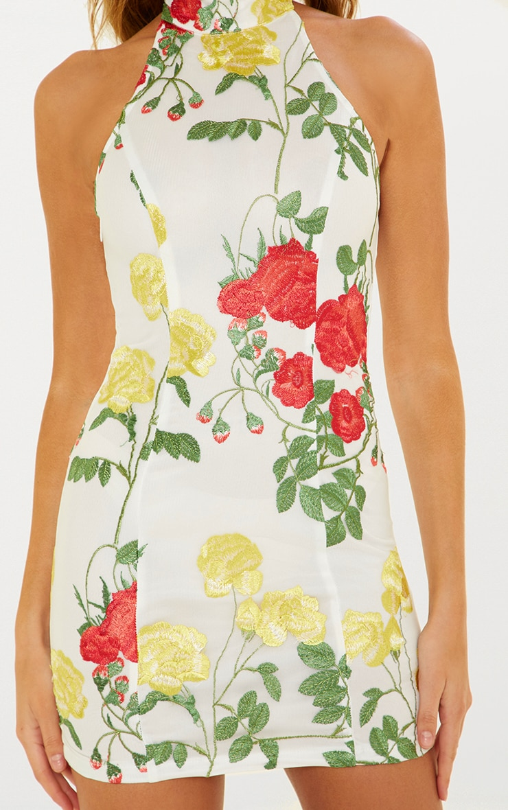 White Floral Embroidered High Neck Bodycon Dress 5