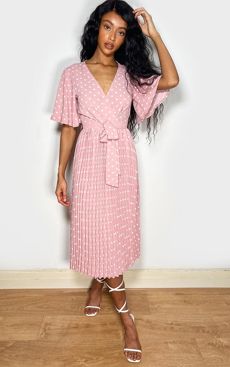 Dusty Pink Polka Dot Pleated Midi Dress 1