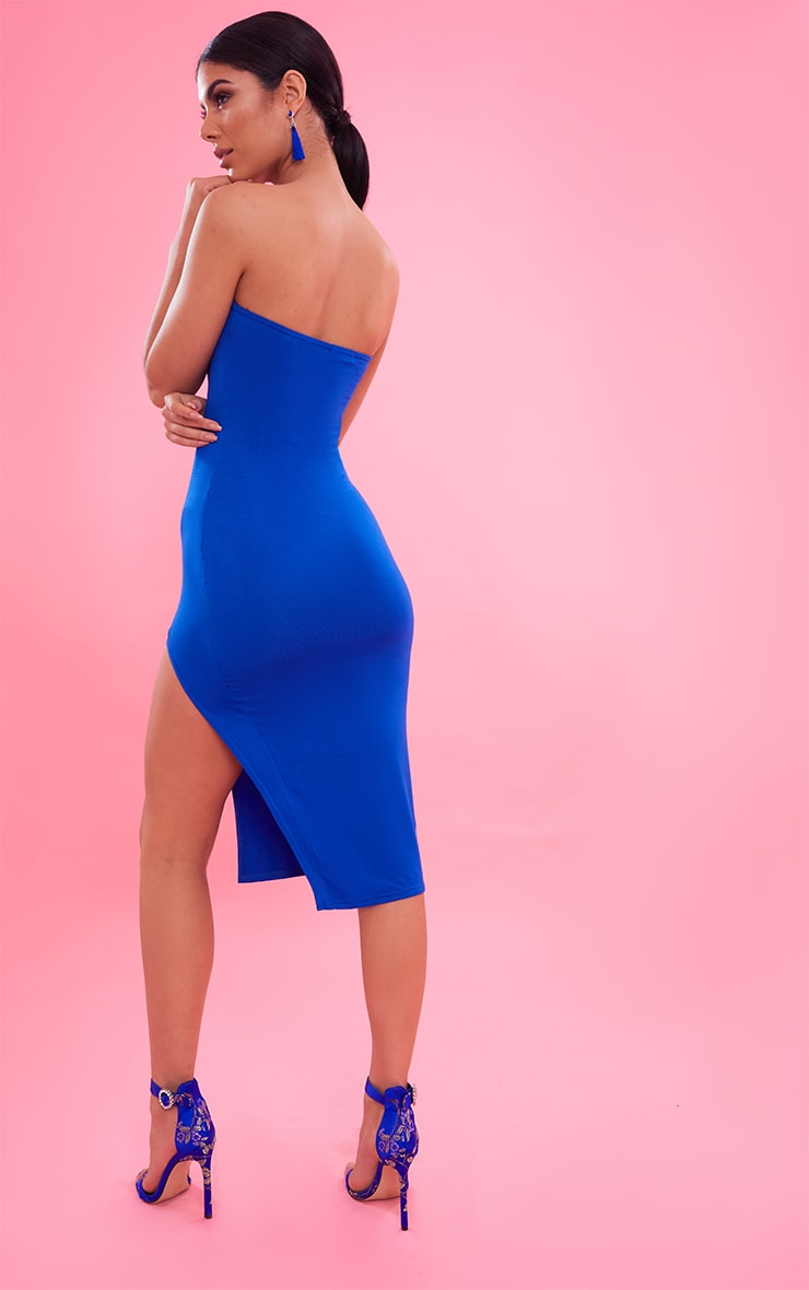 Cobalt Bandeau Split Front Midi Dress 3